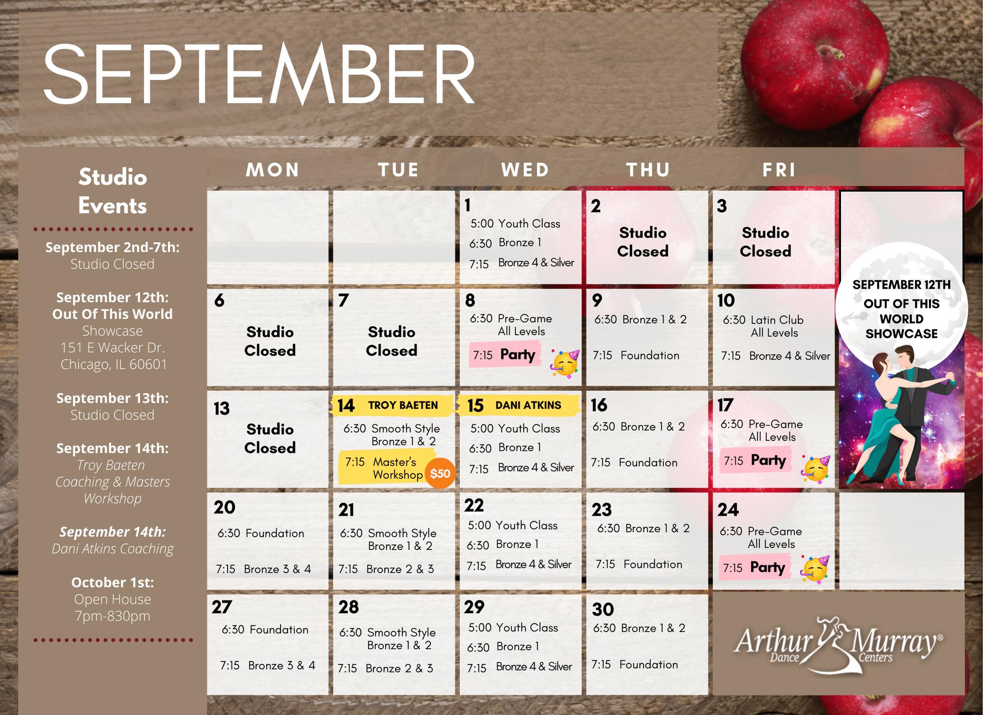 Dance Studio Glenview September Calendar